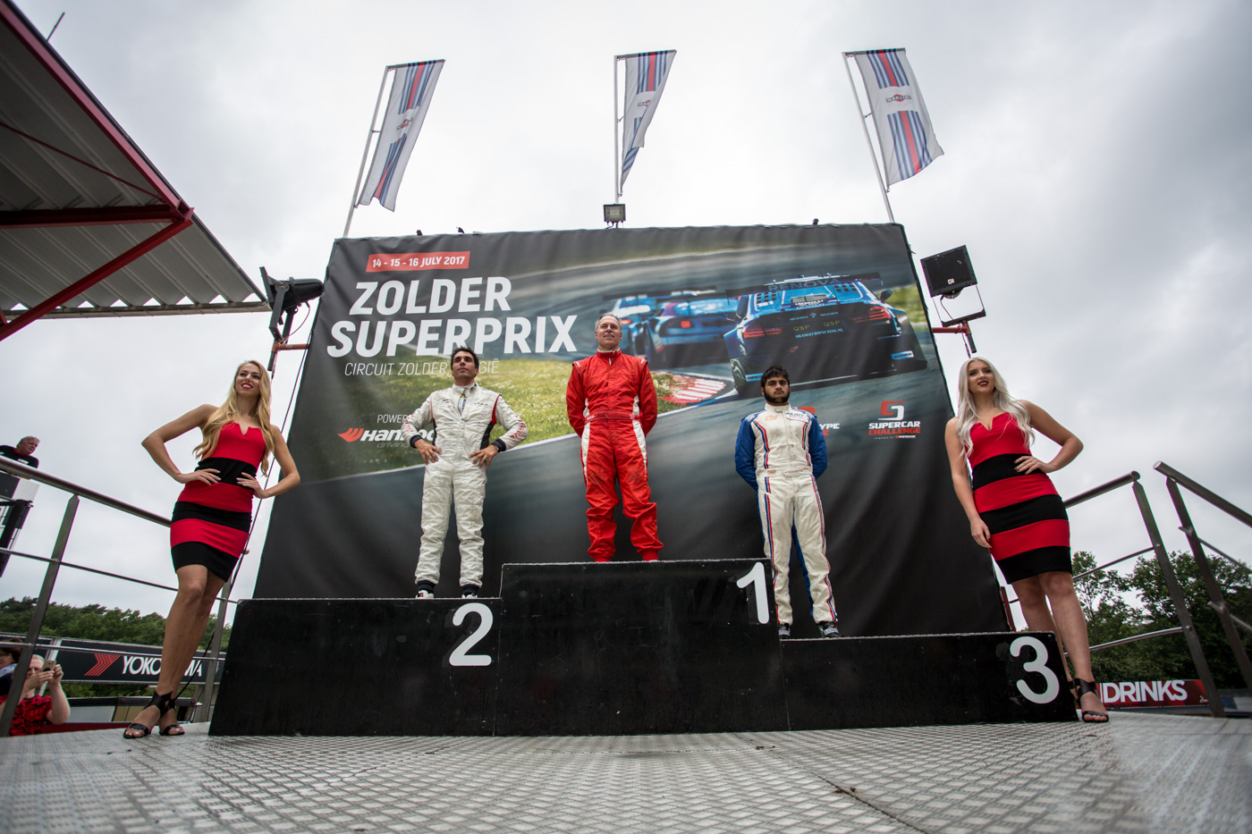 Podium of race 2 at Zolder 2017.