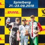 An all-Italian podium in FORMULA (f.l.): M. Ghiotto, De Plano and Martucci
