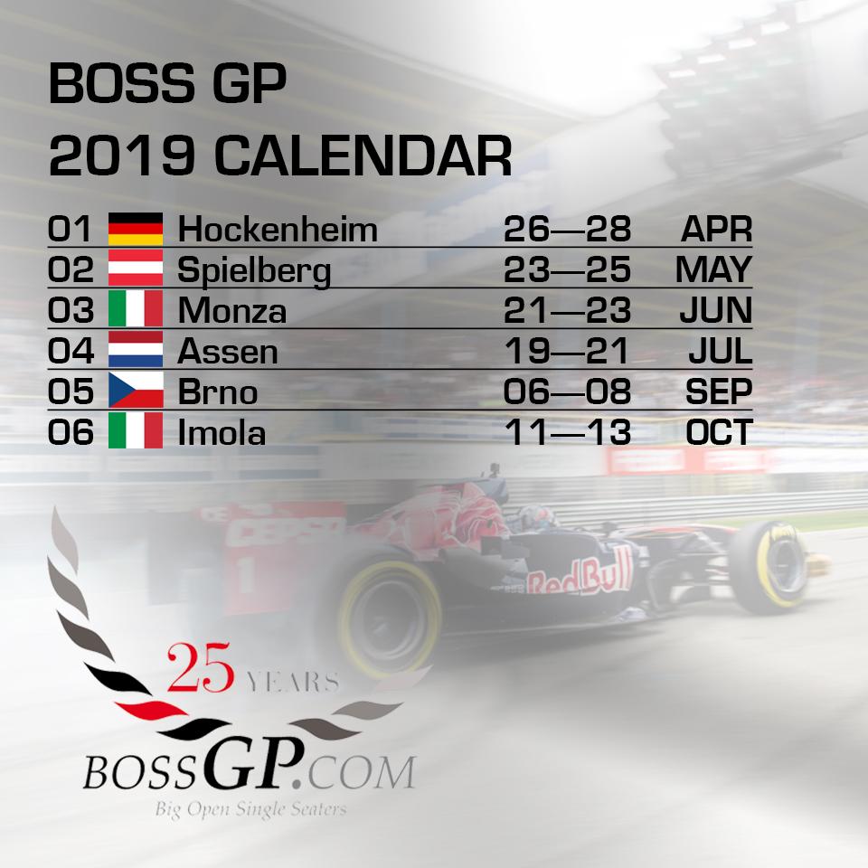 2019 BOSS GP calendar